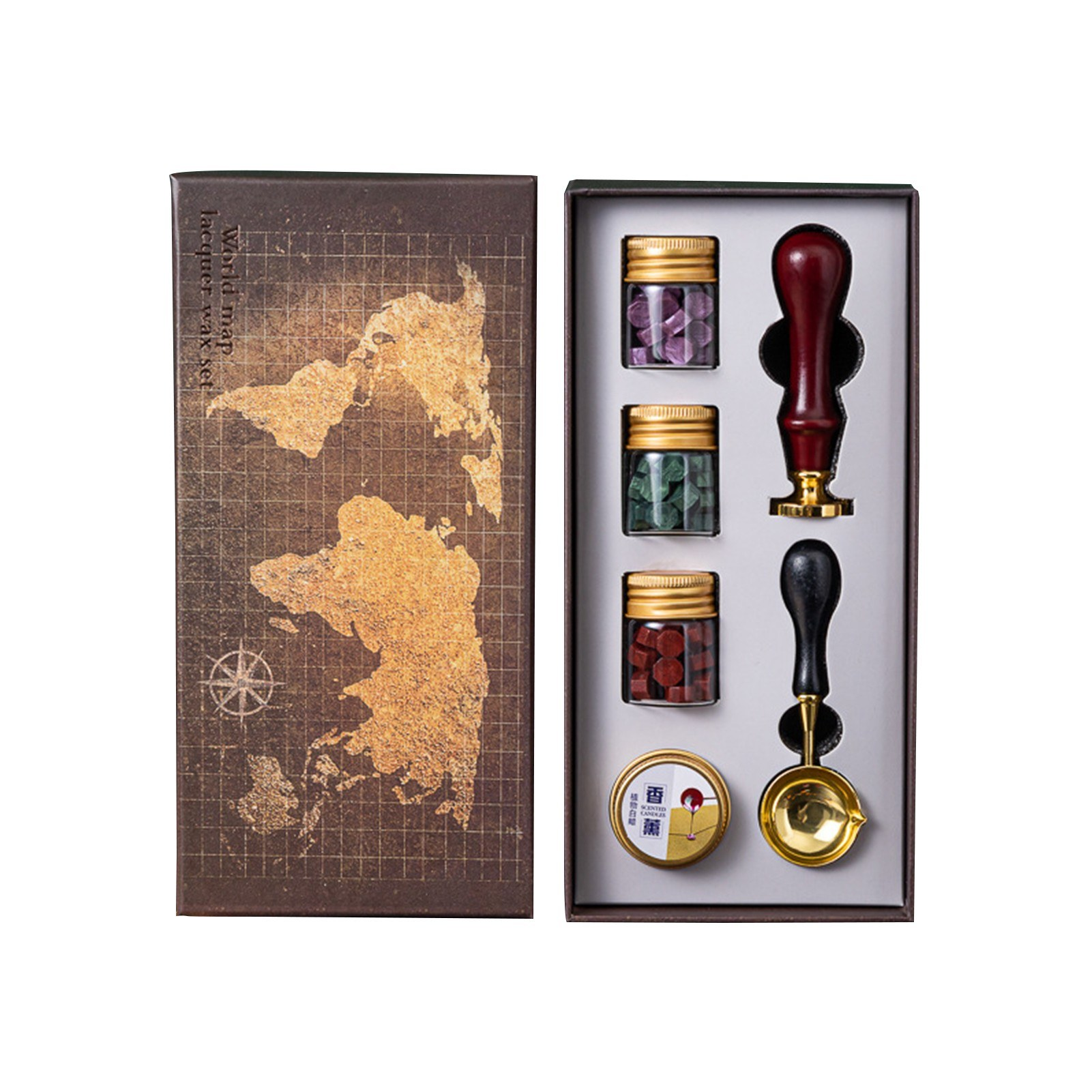 cafago.com - 66% OFF Vintage Wax Seal Kit with Gift Box Sealing Wax Beads Wax Seal Stamp Wax Melting Spoon Candle,free shipping+$13.14
