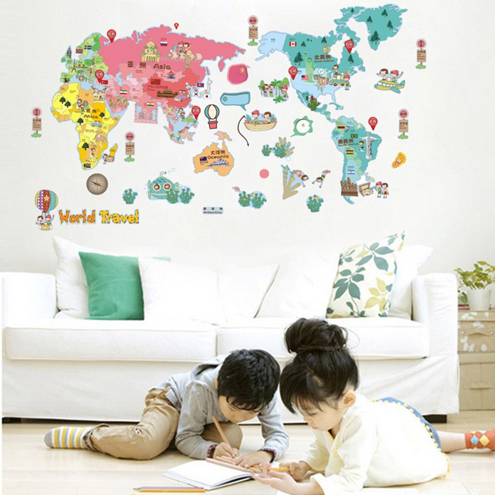 Wall sticker cute colorful world travel map sticker educational kids wall sticker cute colorful world travel map sticker educational kids room pvc decal mural art home decor sales online tomtop gumiabroncs Image collections