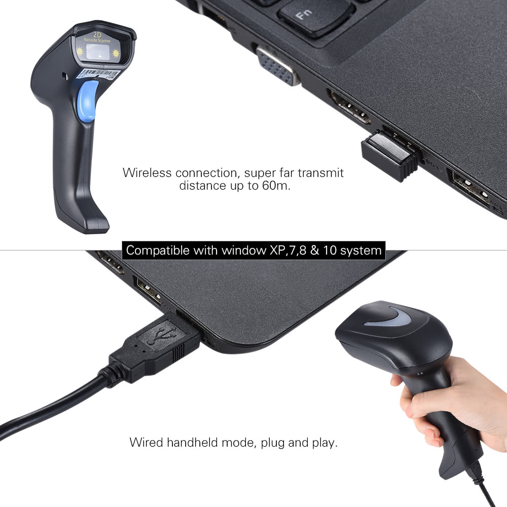 2 4G Wireless Cordless Handheld 1D 2D QR Barcode Bar Code Scanner Reader  with Receiver