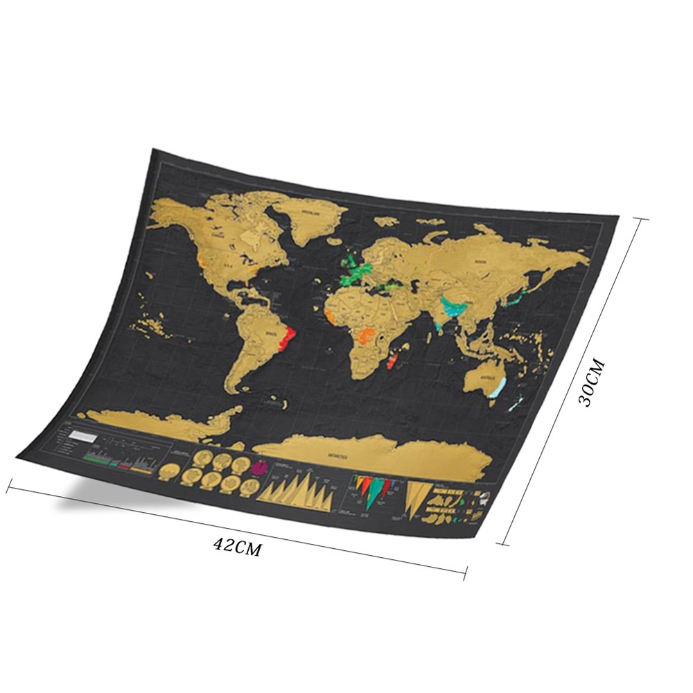 Best Scratch Off World Travel Map Poster Copper Foil Wall
