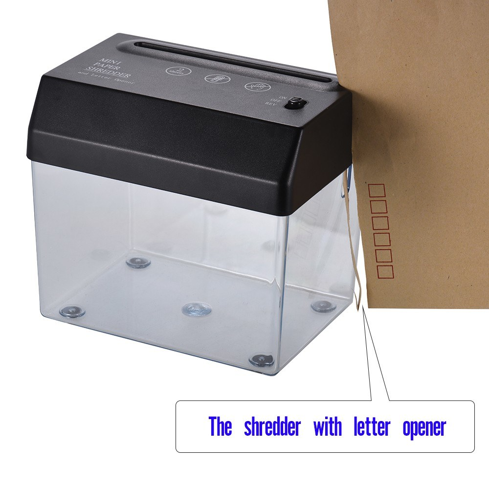 MINI Aktenvernichter mit Streifenschnitt und Brieföffner für Desktop
