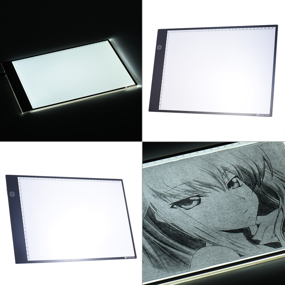 Portable A4 LED Light Box Drawing Tracing Tracer Copy Board Table Pad Panel  Copyboard with 3-mode Brightness Black Edge Scale for Artist Animation