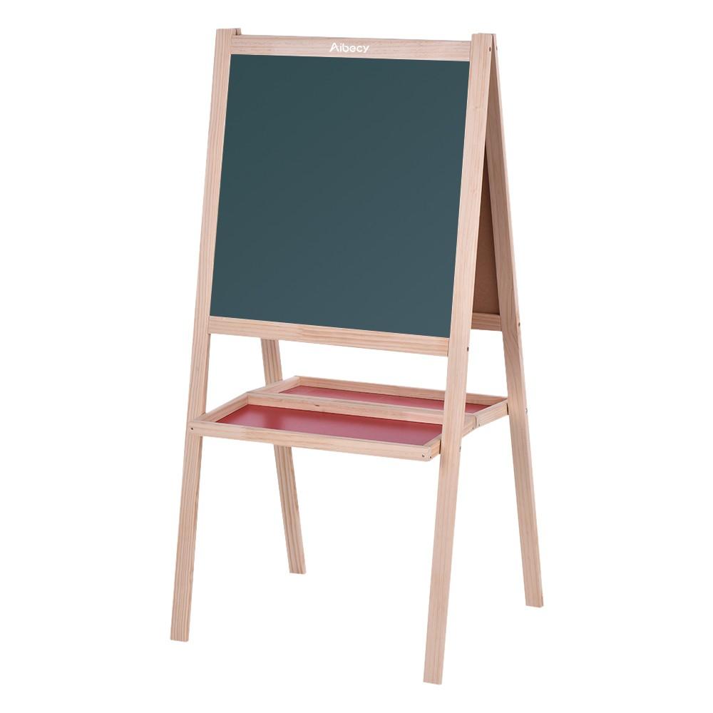 Aibecy Folding Kids Wooden Art Easel Chalkboard White Drawing Board