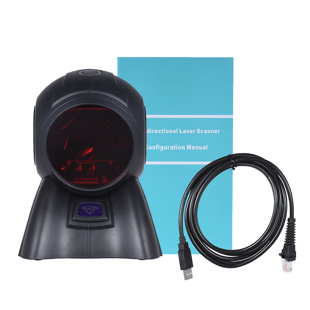 Omni-directional 20 Lines 1D USB Orbit Barcode Scanner Reader Auto Scanning  1800t/s Speed 30° Adjustable Head