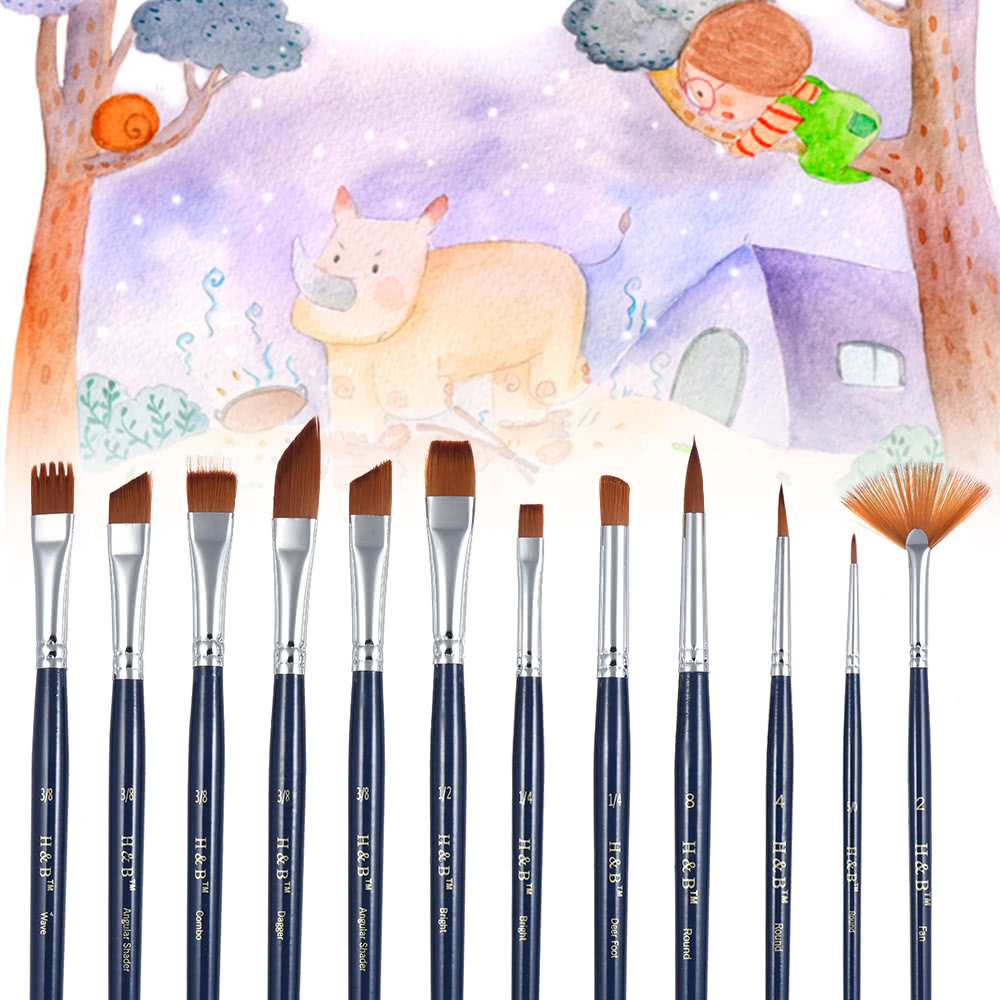 Professional Artist Paint Brush Kit Including 12pcs Nylon Hair Short Handle  Watercolor Acrylic Gouache Oil Painting Brushes with Color Palette