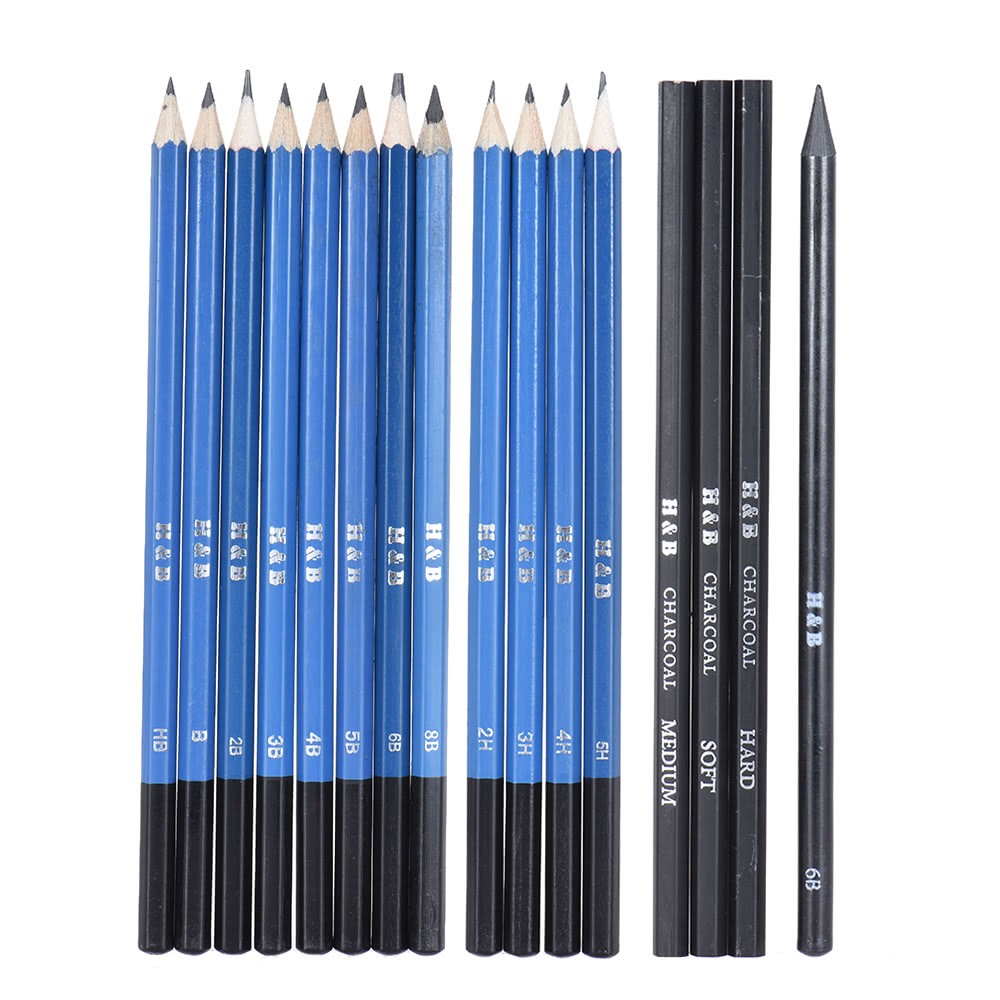 32pcs/Set Professional Drawing Sketch Pencil Kit Including Sketch Pencils Graphite & Charcoal Pencils Sticks Erasers Sharpeners with Carrying Bag for Art ...