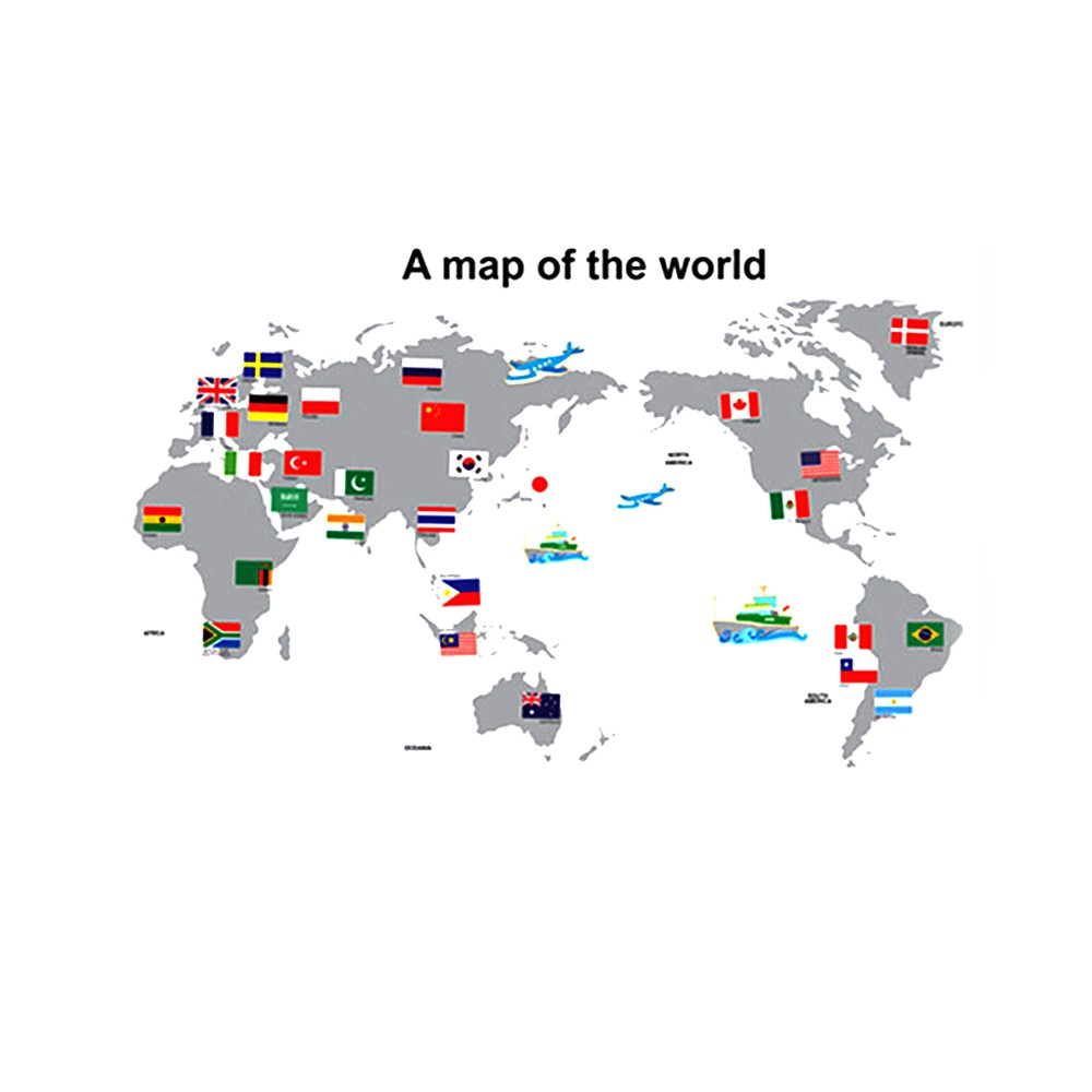 Wall sticker large colorful world map sticker educational kids room wall sticker large colorful world map sticker educational kids room country flags decal for school office home bar cafe sales online tomtop gumiabroncs Images