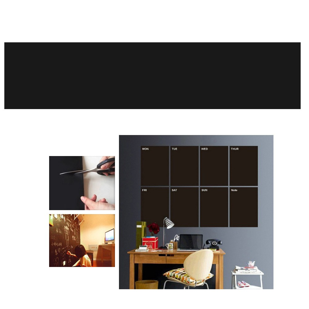 mur autocollant ducatif blanc chalkboard autocollant cuttable tableau noir panneau d 39 affichage. Black Bedroom Furniture Sets. Home Design Ideas