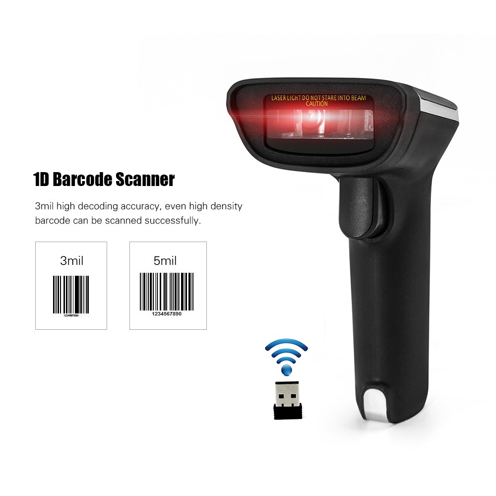 2 4G Wireless Barcode Scanner Handheld USB Wired 1D Bar Code Reader 3mil  High Accuracy for Windows Mac PC POS