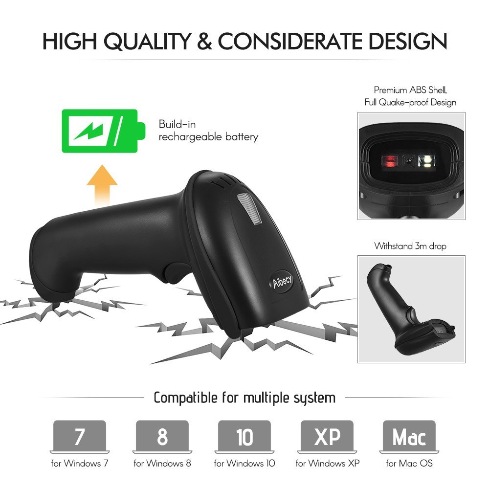 Best Aibecy 2-in-1 2 4G Wireless Barcode Scanner & black Sale Online  Shopping | Cafago com