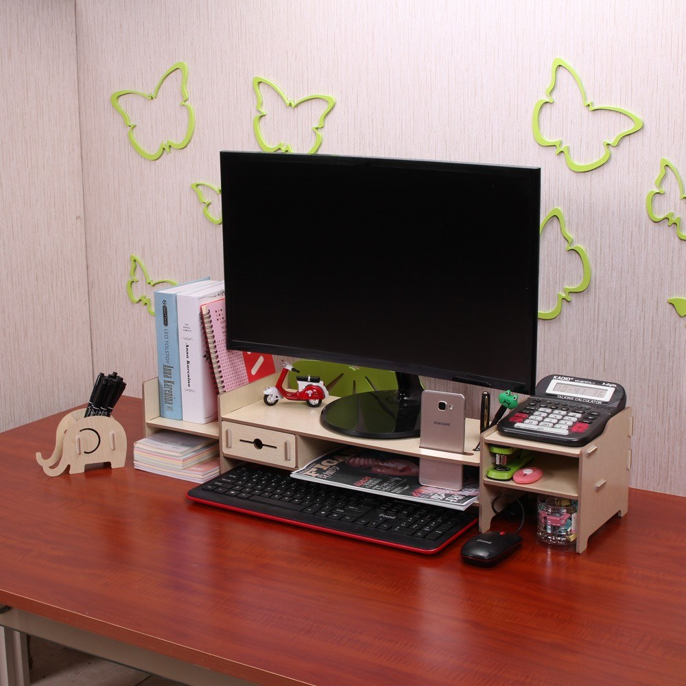 Diy Storage Shelf Monitor Stand Riser File Organizer Stationery Holder Office Desk Wood S Beige Tomtop