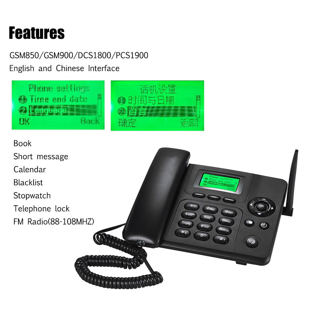 Desktop Wireless Telephone GSM Fixed Phone Support 2 SIM Card 2G for House  Home Call Center Office Company Hotel