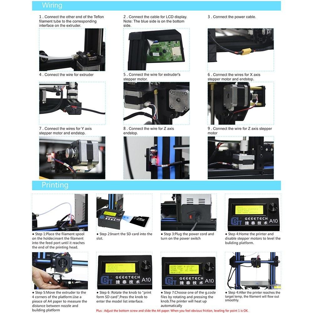 Best Geeetech A10 3D Printer Aluminum DIY eu Sale Online Shopping |  Cafago com