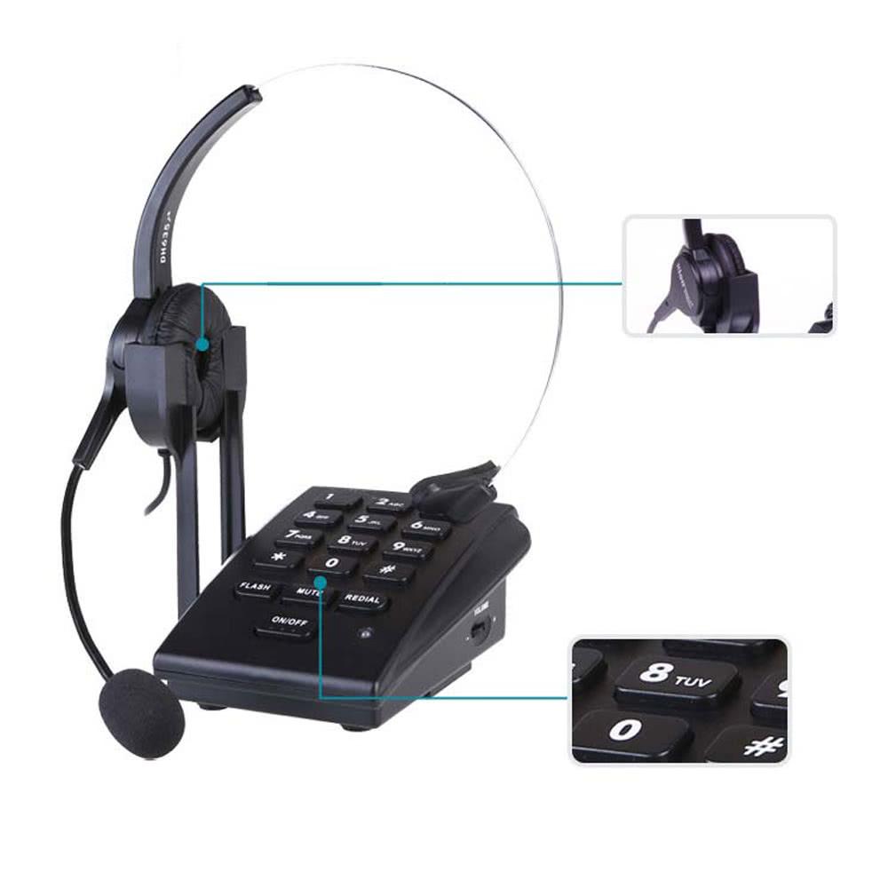 HT300 Hands-free Corded Business Landline Headset telephone Desk Call  Center Office Phone Noise-Canceling Single-Ear - US$24 53 Sales Online  black -