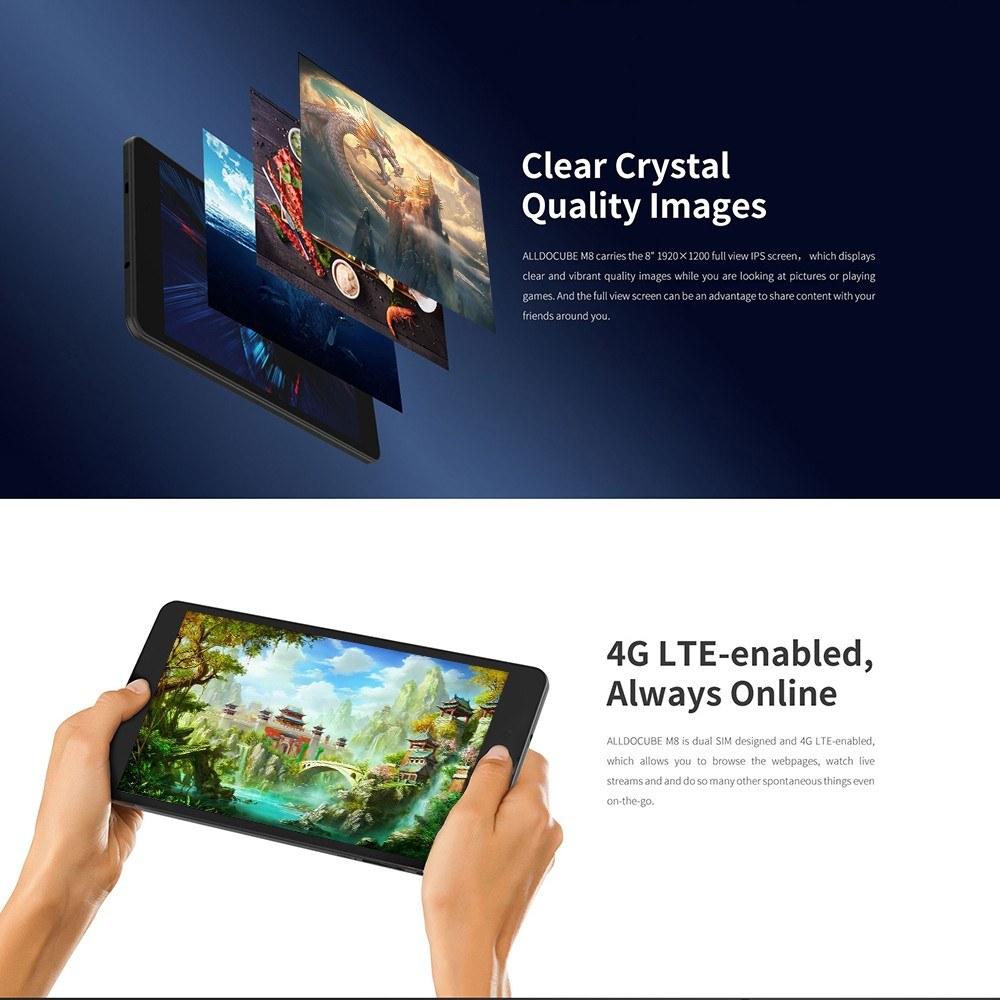 Best ALLDOCUBE M8 Tablet 4G LTE Dual SIM Card Phablet Phone MTK black Sale  Online Shopping | Cafago com