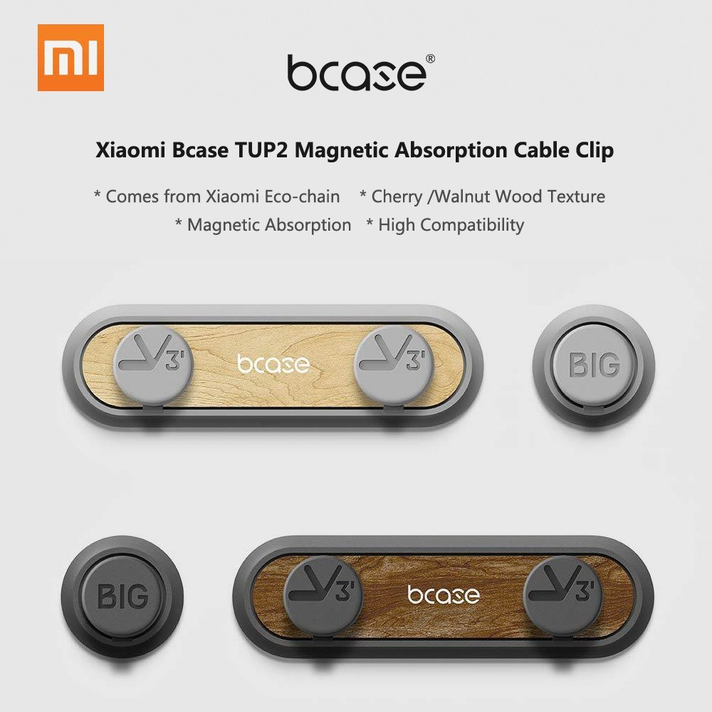 New Original Xiaomi Bcase Tup2 Walnut Wood Magnetic Absorption Cable Organizers Clip Desk Computer Clips Wire Holder Desktop Usb Cord Management