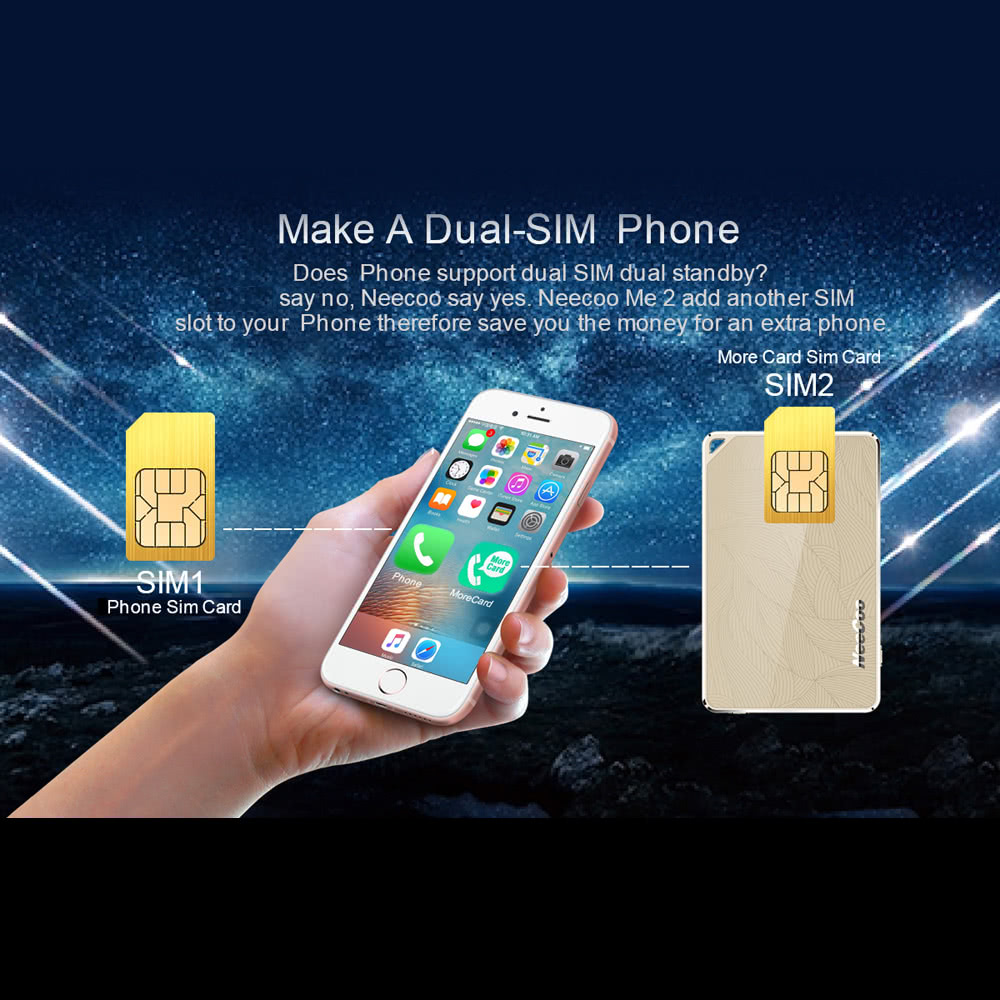 One Phone Two Cards Support Another SIM Slot Extension for iPhone 5S 6 6S  Plus IOS 7 0 BT 4 0 Above Dual Cards Dual Standby Function Call/Answer  Phone