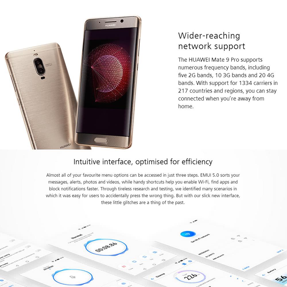 HUAWEI Mate 9 Pro 4G Smartphone 5 5 inches Curved AMOLED 4GB RAM 64GB  ROMSupport OTA Update