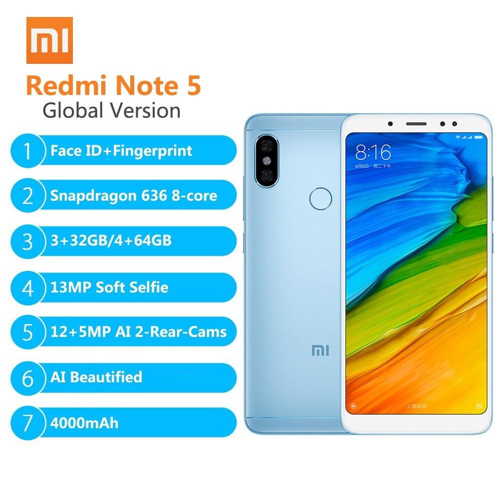 Global Versionxiaomi Redmi Note 5 Smartphone Ai Face Id 4gb 64gb 4 Black