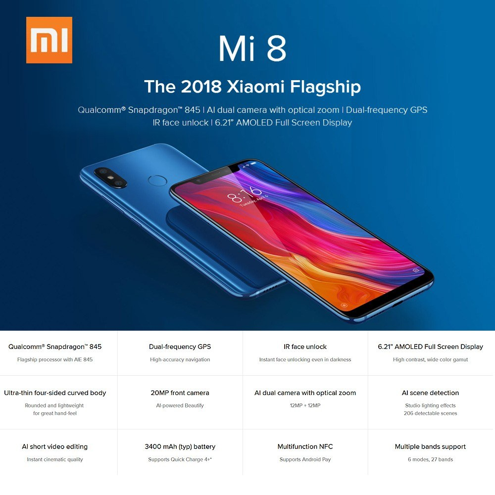 Global Version Xiaomi Mi 8 Mobile Phone