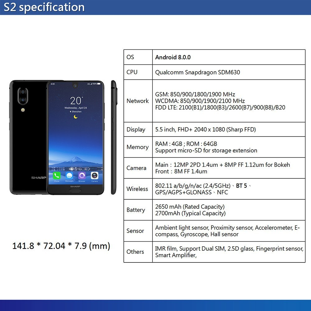 Global Version Sharp AQUOS S2 C10 Mobile Phone