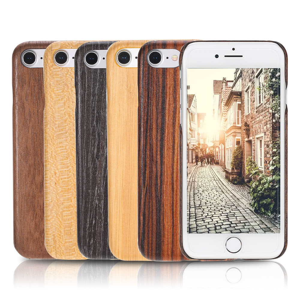 En bois naturel bambou main t l phone portable hard shell for Telephone leger