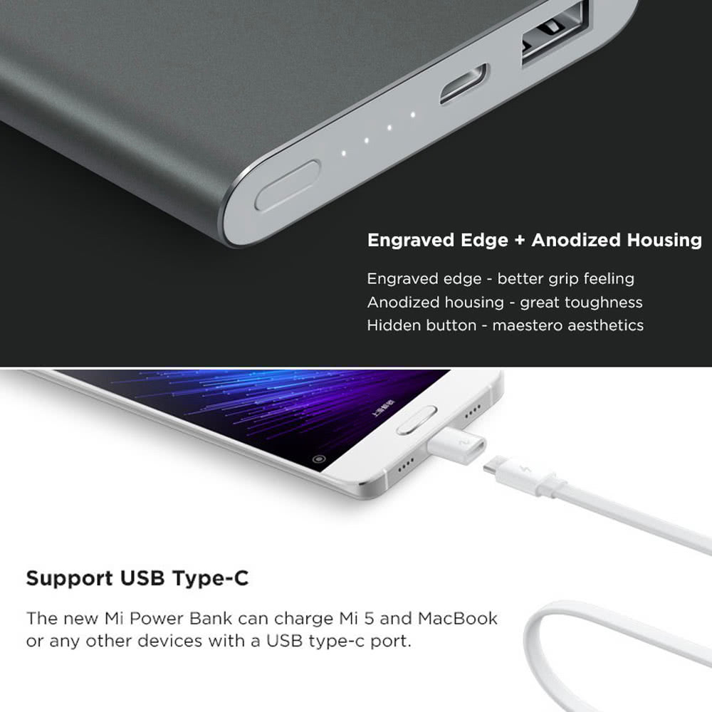 Original Xiaomi Mi Power Bank Pro 10000mah Powerbank Slim Usb 2 Quick Charge Type C 18w Faster Metal Shell For Mi5 Mi4 Iphone 6 6s Plus Samsung S7 Edge