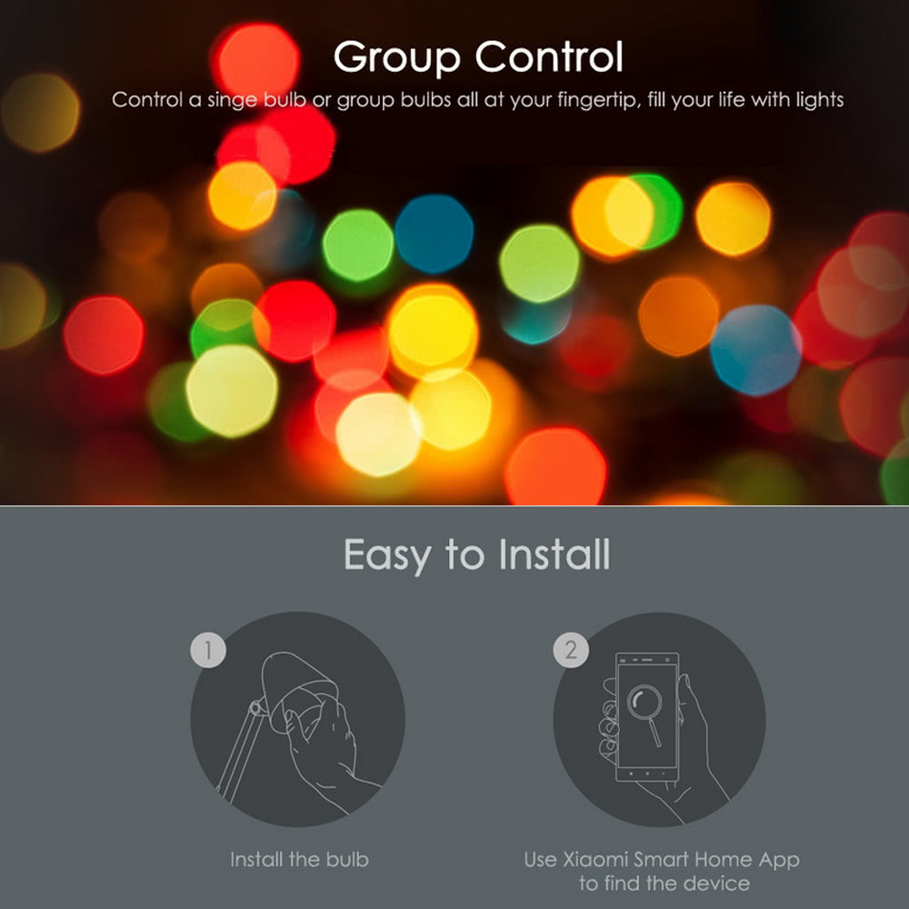 Original Xiaomi Yeelight LED Smart Bulb (Color Version) E27 9W 600 Lumens  Mi Light Smart Phone WiFi Remote Control Adjustable Brightness Eyecare  Light