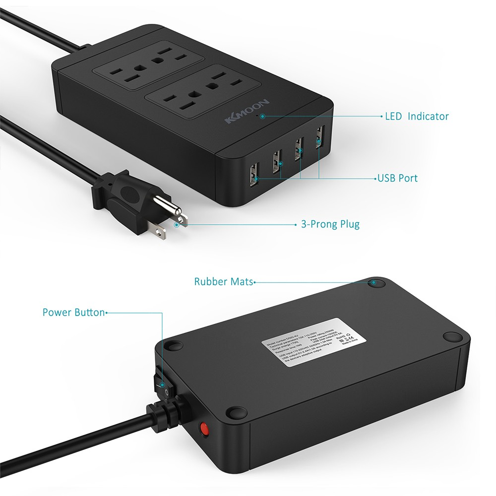 Best KKmoon 2500W 110-240V 4 US Standard Outlets 4 USB Ports Power ...