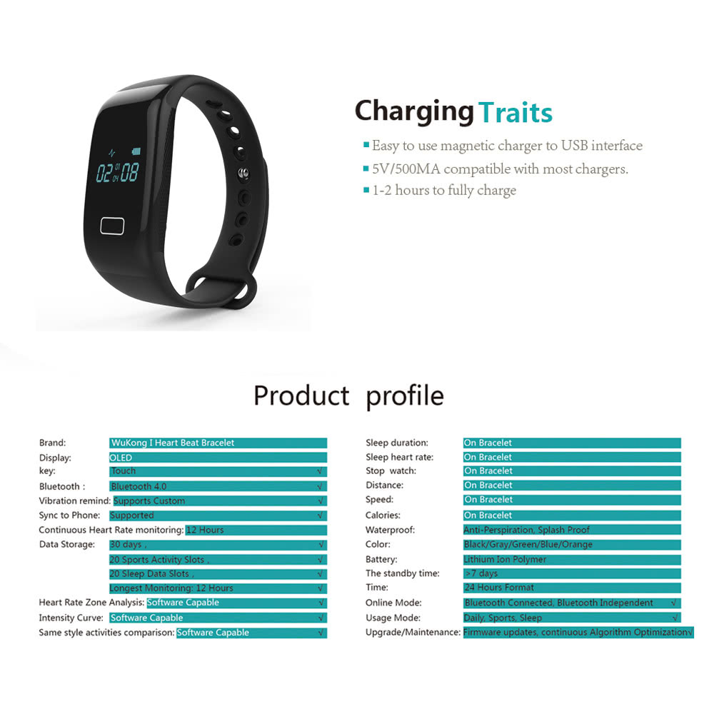 JW018 Smart Sports Band Wristband Cortex-M4 core Fitness Bracelet Blue OLED  Screen Display BT 4 0 110mAh Battery Pedometer Calories Heart Rate Data