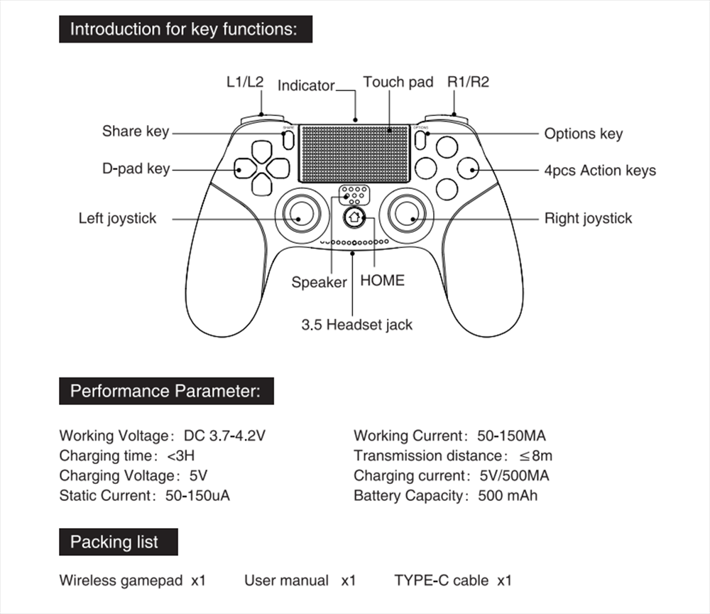 IPEGA XB-006 Game Controller Joystick BT Wireless USB Wired Gamepad for PS4  Controller Sony Playstation 4