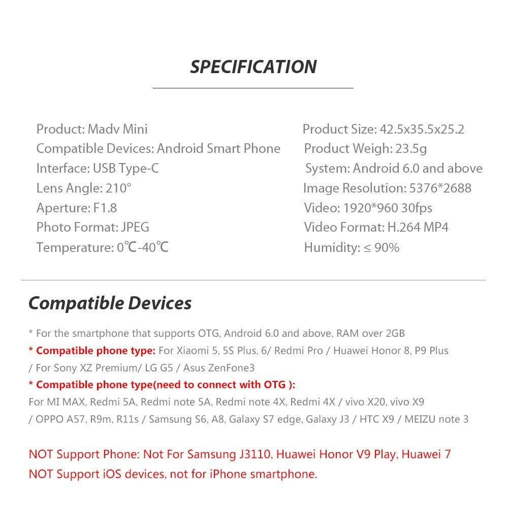 Xiaomi MADV Mini 13MP 360 Degree Panorama Camera