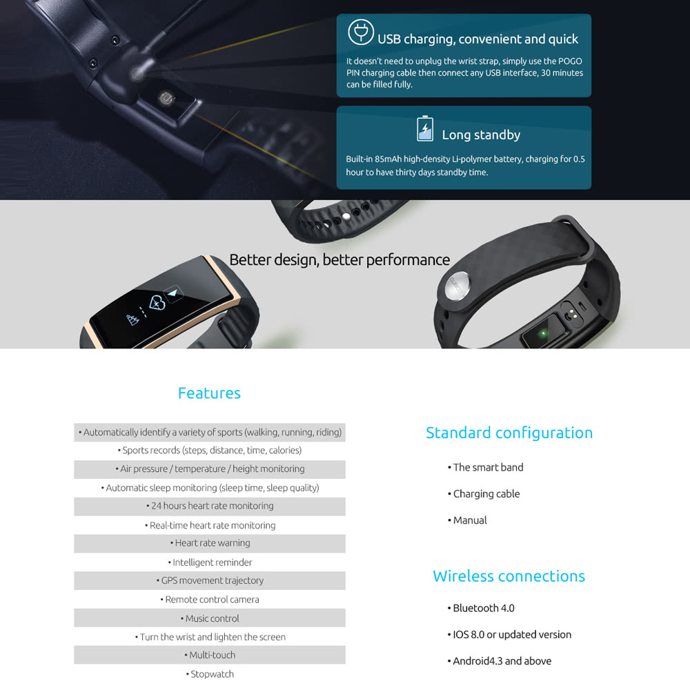 CUBOT S1 Smart Band 0 96inch OLED Screen 128*64pixel IP65 BT 4 0 Smart  Wristband Heart Rate Sleep Monitor Air Pressure/Temperature Monitor Remote