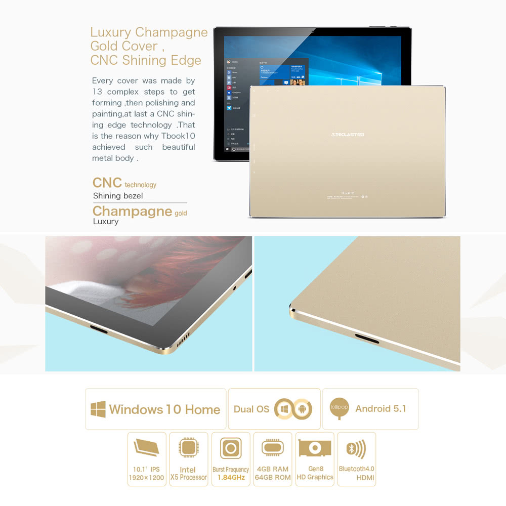 TECLAST Tbook 10 Tablet PC 10 1inch IPS HD Screen 1920*1200px Intel Cherry  Trail 64Bit Processor 1 84GHz Windows 10 / Android 5 1 Dual Operation
