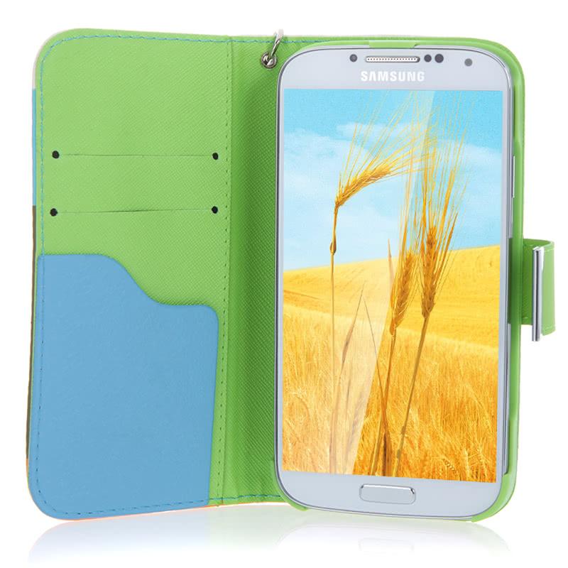 d214ae798d6 Caja colorida de la billetera de cuero para Samsung Galaxy S4 i9500/i9505