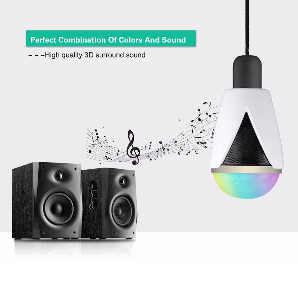 Smart Music Player RGBW Intelligent Lamp Bulb E27/E26 Screw BT Speaker  Multicolor LED Light Wireless Control Waterproof IP25 for Android 4 3 IOS  5 0