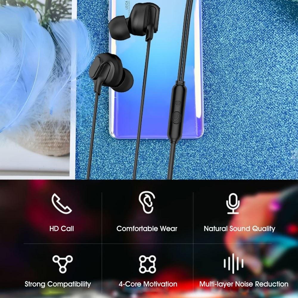 Lenovo HF150 Earphones Sports Running Headset 3.5mm Jack Headphones 6D Stereo Sound Noise Reduction