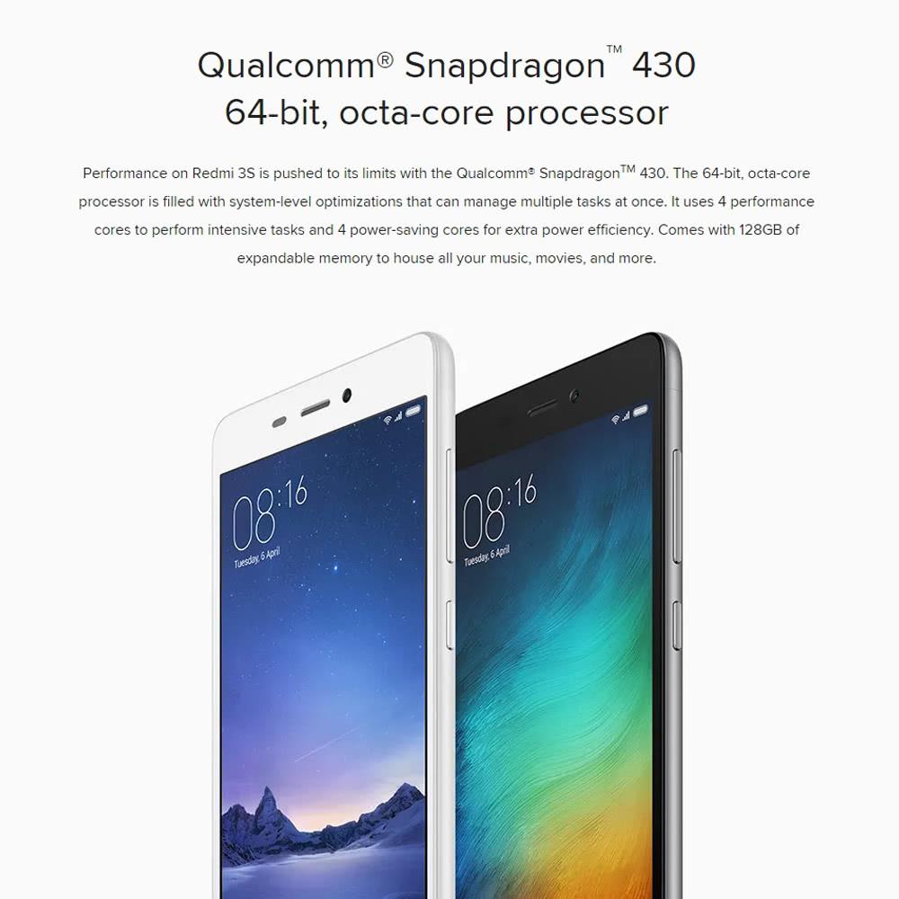 Xiaomi Redmi 3S Smartphone 4G LTE 3G WCDMA TD-SCDMA MIUI 7 OS Octa Core  Qualcomm Snapdragon 430 64bits 5 0
