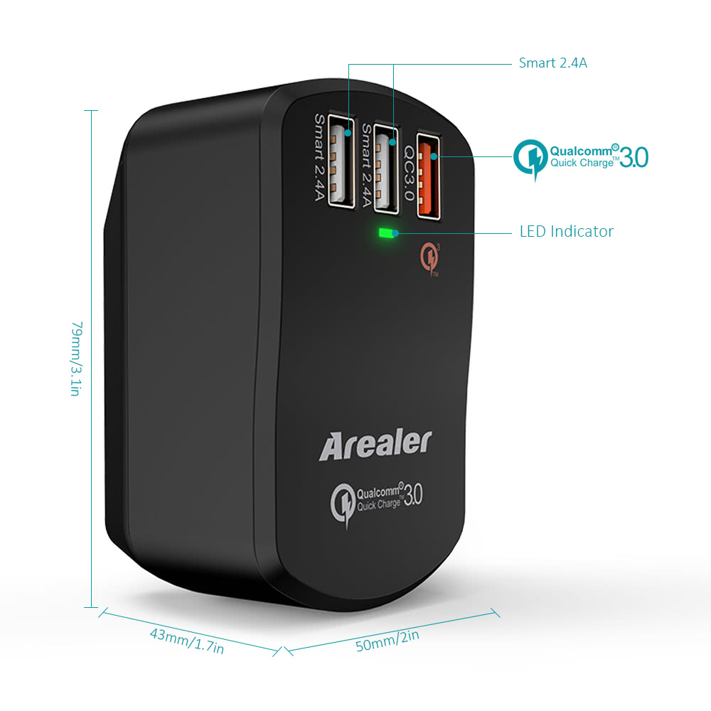 Arealer Quick Charger 3.0 Trial 42W USB Wall Charger with Two Smart USB Charger One Qualcomm