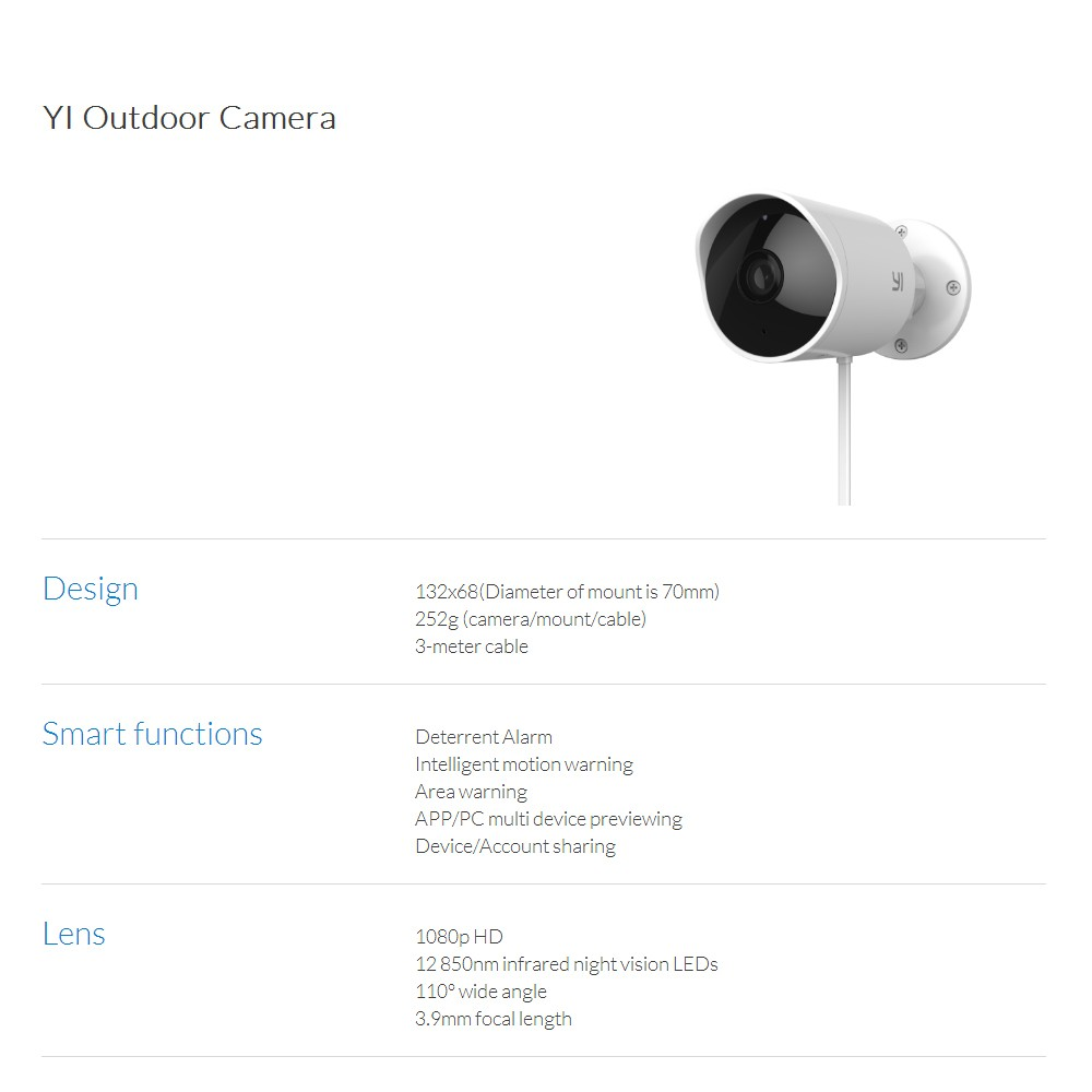 Xiaomi YI Outdoor Camera IP65 Waterproof Smart IP Security Home Camera  Monitor 1080P FHD Night Vision Alarm