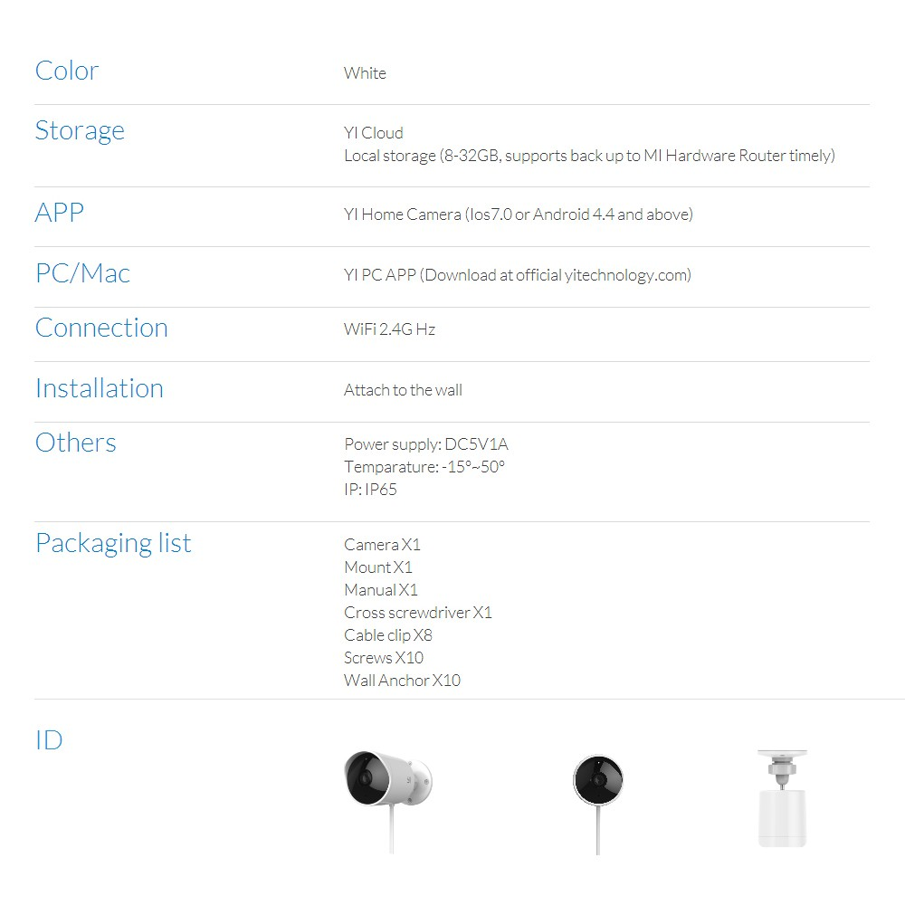 Xiaomi YI Outdoor Camera IP65 Waterproof Smart IP Security Home Camera  Monitor 1080P FHD Night Vision Alarm
