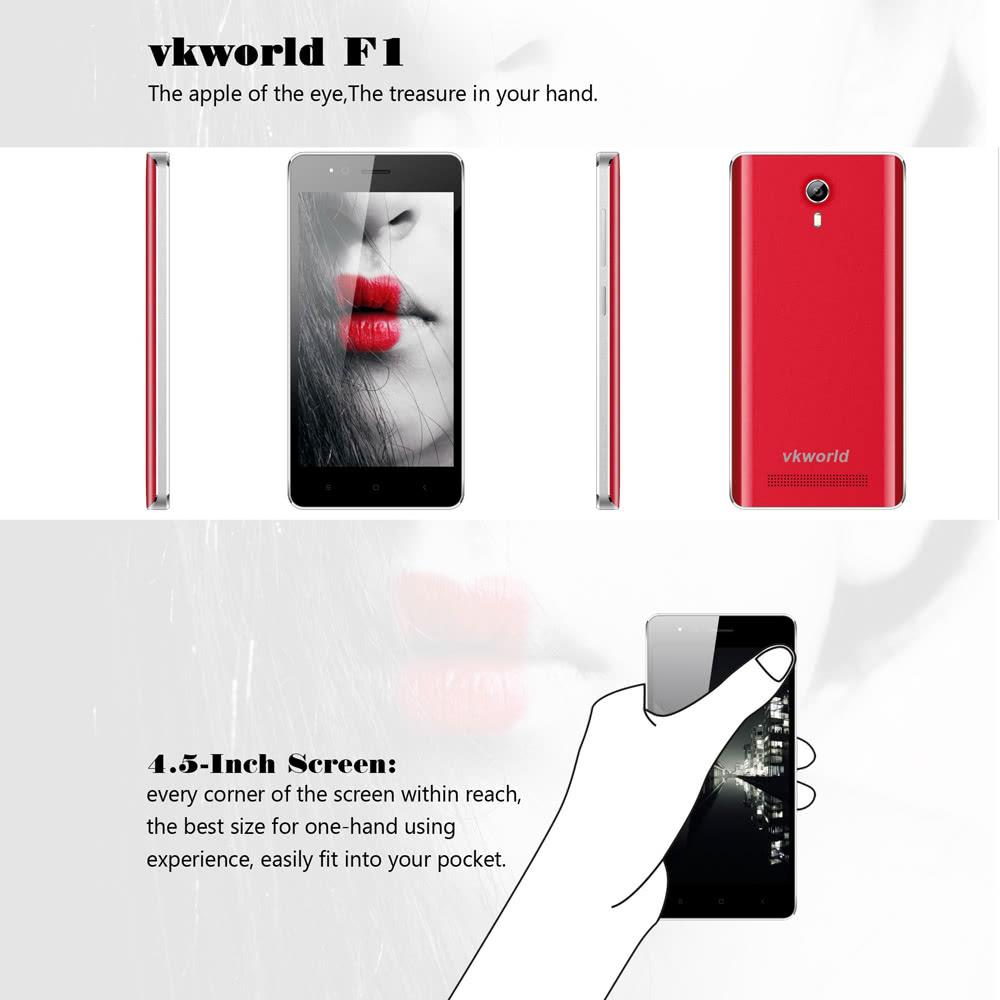vkworld F1 3G WCDMA 2G GSM MTK6580 1 3GHz Quad Core Smartphone 4 5