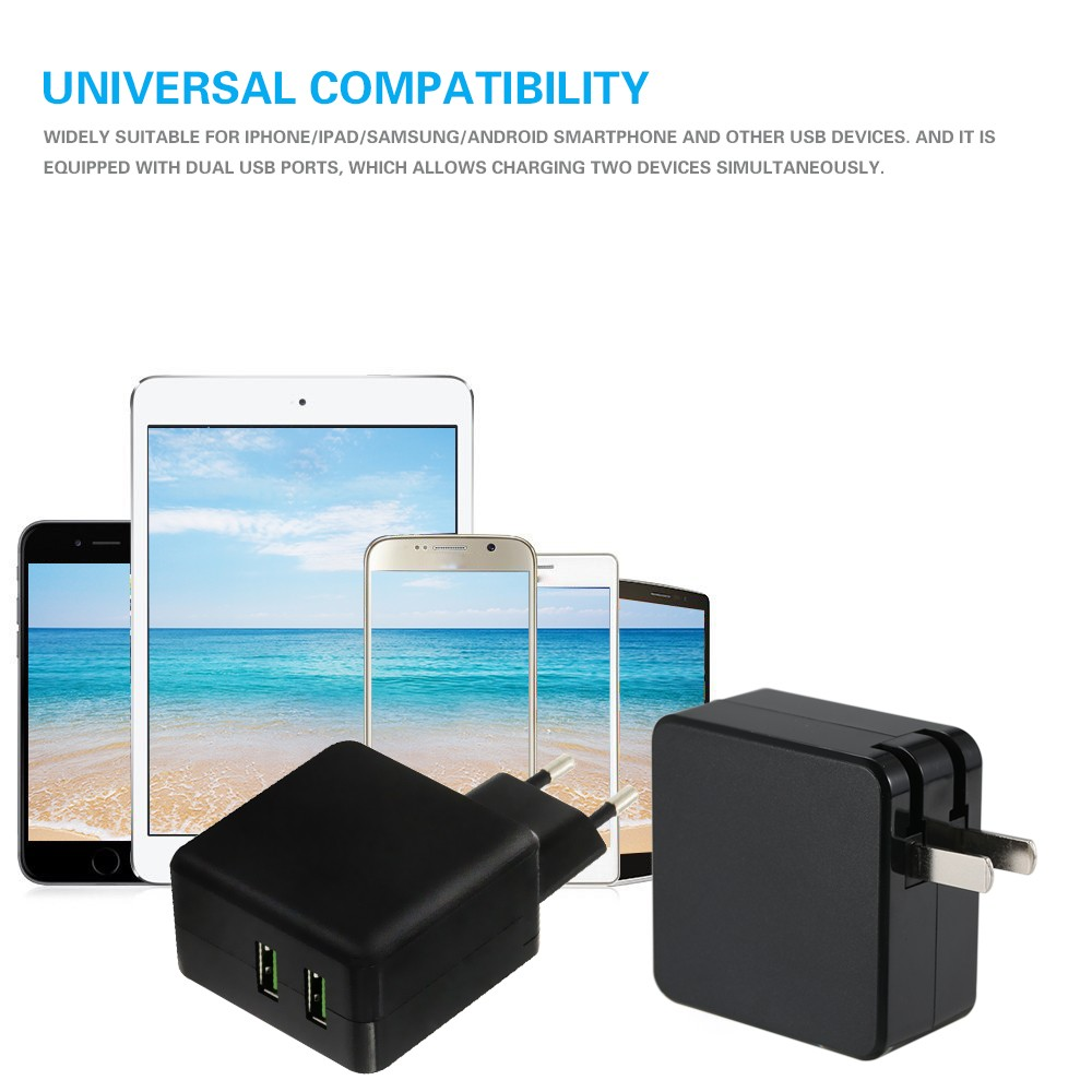 Best Dual Ports Portable Usb Wall Charger Eu Sale Online