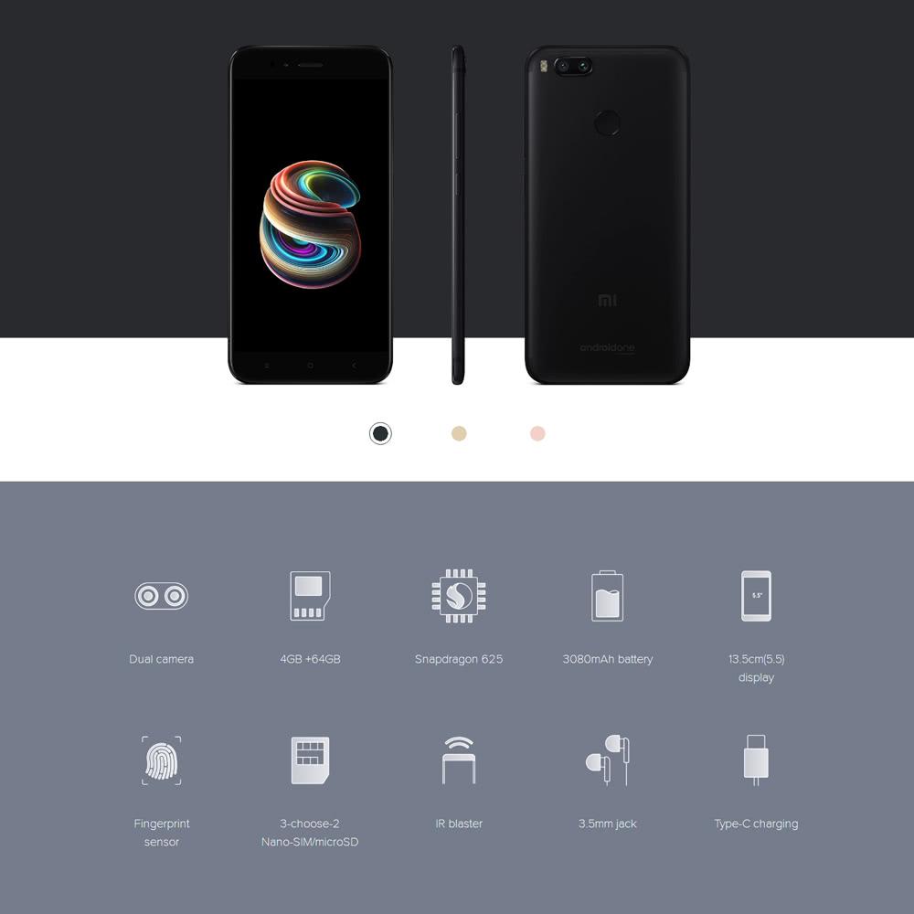 [Global Version] Xiaomi Mi A1 4G Smartphone 5.5 inches 4GB RAM + 64GB ROM - US$248.99 Sales Online black eu - Tomtop