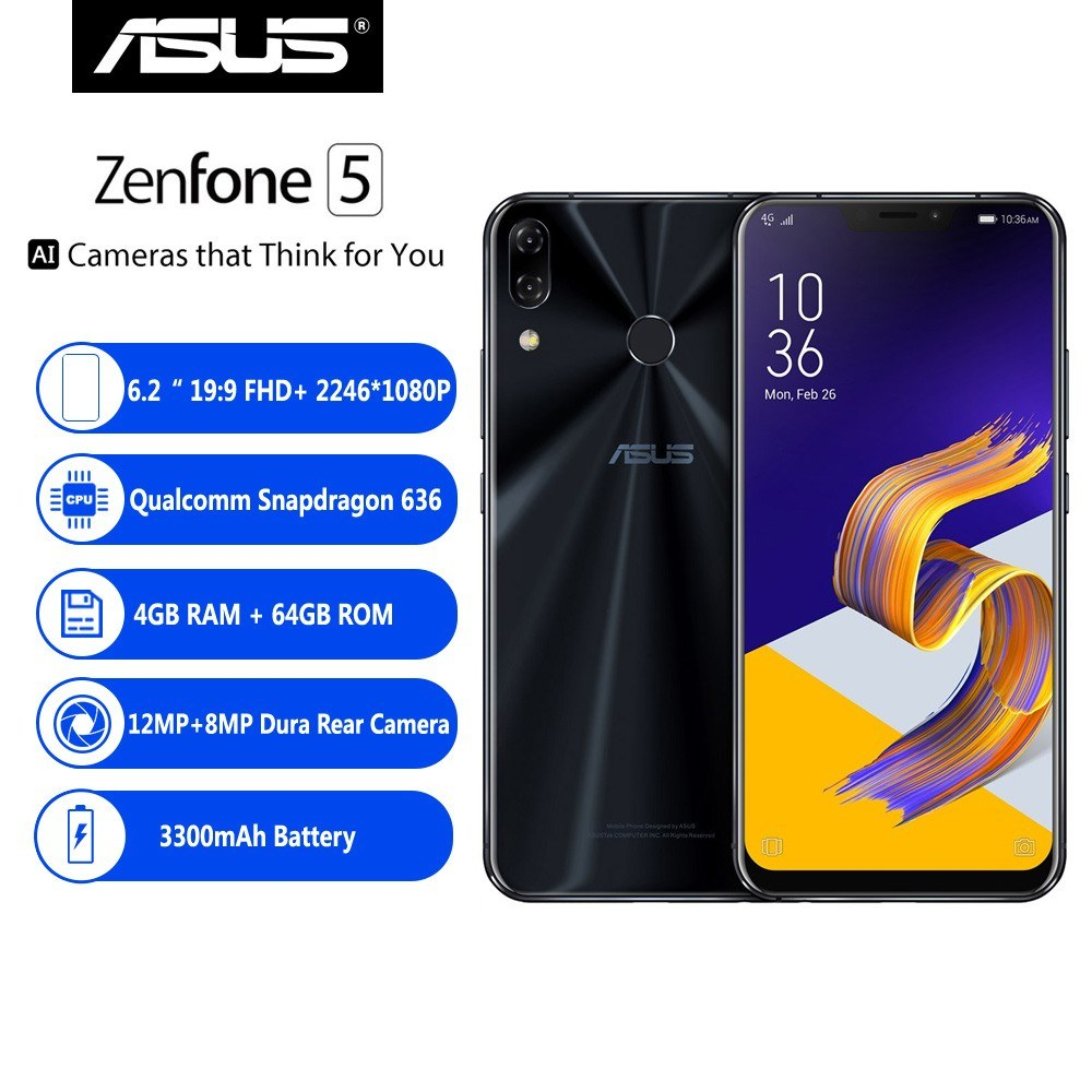 【Global Version】ASUS Zenfone 5 ZE620KL 4G Smartphone Notch 6 2 Inches  4GB+64GB - US$414 99 Sales Online blue eu - Tomtop