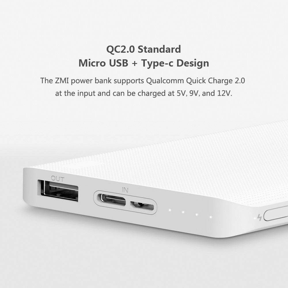 Best Xiaomi Zmi 10000mah Power Bank Two Way Quick Charge With Type C Powerbank Mi Pro 2 Original Usb Charger For Iphone Ipad Samsung