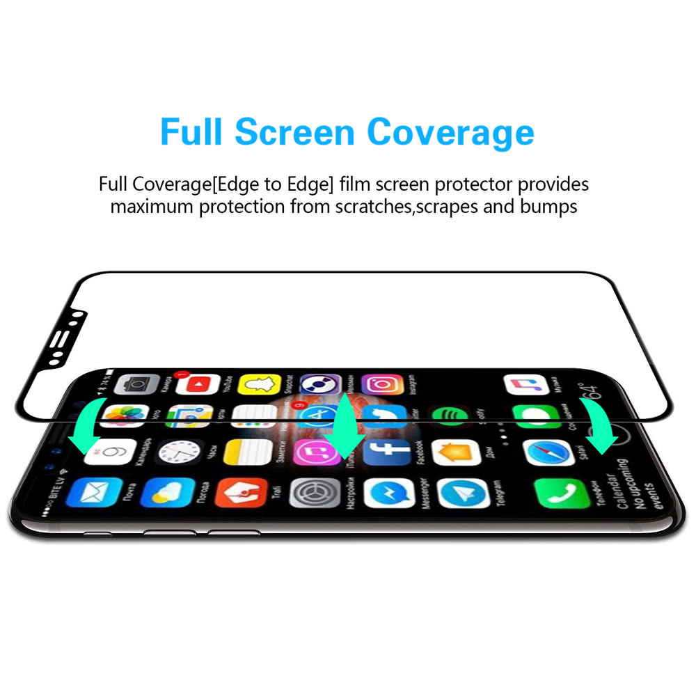 Real 3d Curved Edge 9h Hd Screen Protector Film Full Cover Tempered Glass Iphone 8 Plus Clear Premium Pro Explosion Proof For X Smartphone
