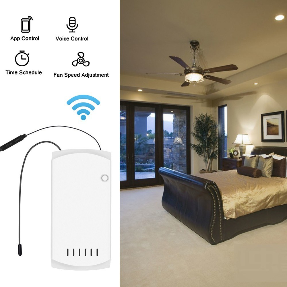 SONOFF iFan03 Wifi Smart Fan Switch Ceiling Fan Light Controller 433 RF APP  Voice Remote Control Adjust Speed Smart Home Module With Timer Internet