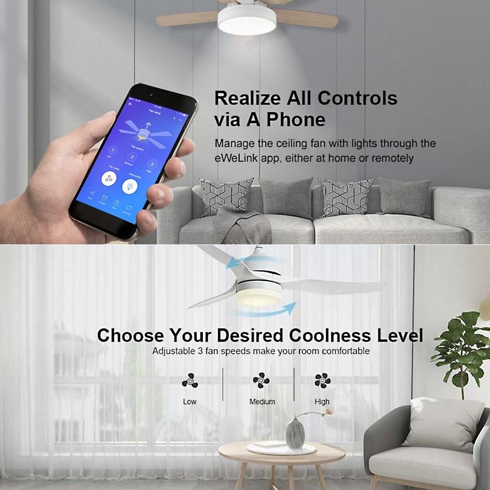 SONOFF iFan03 Wifi Smart Fan Switch Ceiling Fan Light Controller 433 RF APP  Voice Remote Control Adjust Speed Smart Home Module With Timer Internet