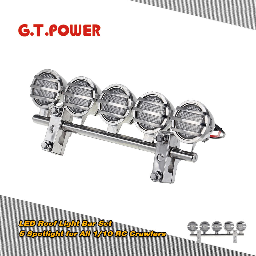 G.T.POWER 5 Spotlight Electroplate LED RC Roof Light Bar